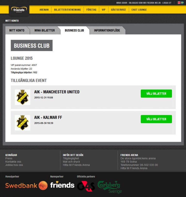 Screen capture of the business club section in the sale flow