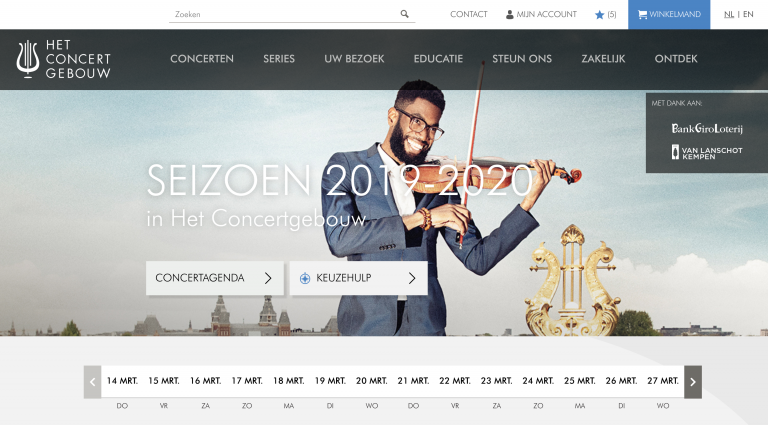 A view of The Royal Concertgebouw homepage