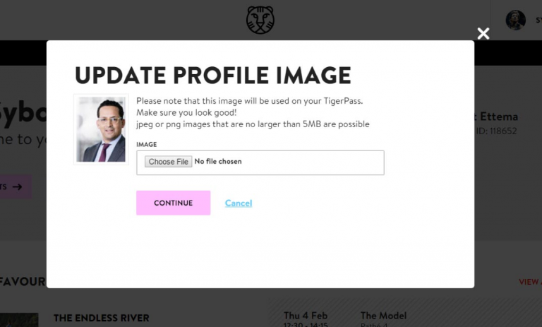 A modal where you can upload your own profile picture