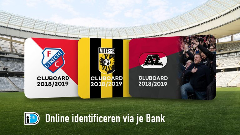 demo clubcard mockups of FC Utrecht, Vitesse and AZ